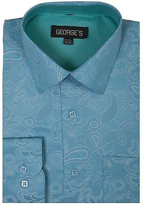 Men's Cotton Blend Paisley Printed Dress Shirt #625 Classic George's Style