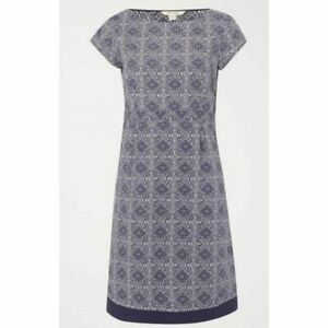 EX-WHITE-STUFF-Purple-Lilac-Cotton-Short-Sleeve-Fitted-Shift-Dress-Size-8-16