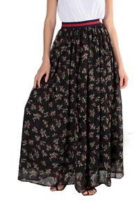 save off 830b5 23f81 Details zu Damen Maxirock Blumen Lang Sommer Rock Chiffon Bodenlang  Mehrfarbig Blickdicht