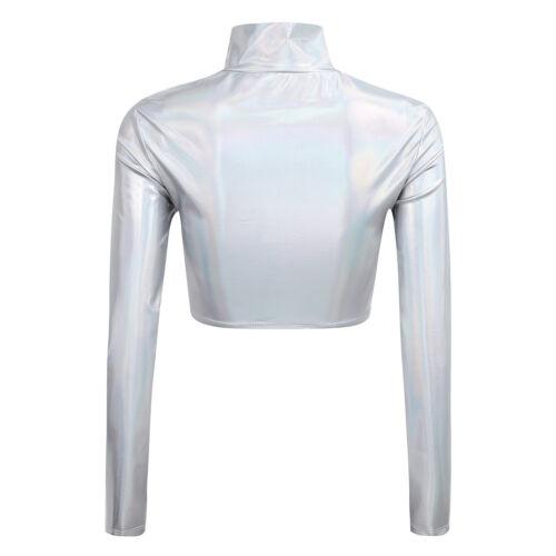 Damen Lack Leder Kurz Oberteil Langarm Crop Top Bauchfrei Bluse T-Shirt Dessous