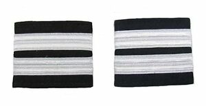 Pilot Captain, Silver Strips Epaulettes, Airline, Cabin Crew 2 Bars R1737-02