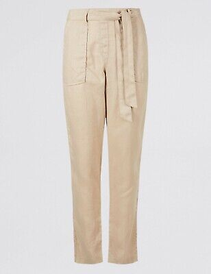 MARKS /& SPENCER M/&S WOMENS PURE LINEN BLACK PEG TAPERED TROUSERS RRP £22.50
