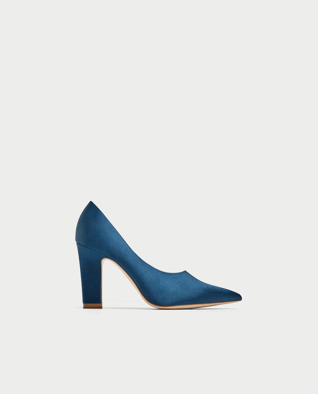 Zara Women Electric bluee Satin high heel court shoes 6218 6218 6218 201 Sz. 7.5 f7e141