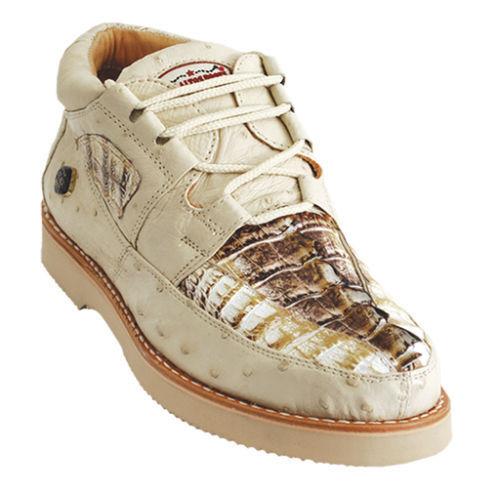 Los altos Genuino Caimán Cocodrilo Avestruz natural Informal Zapatos Con Cordones D