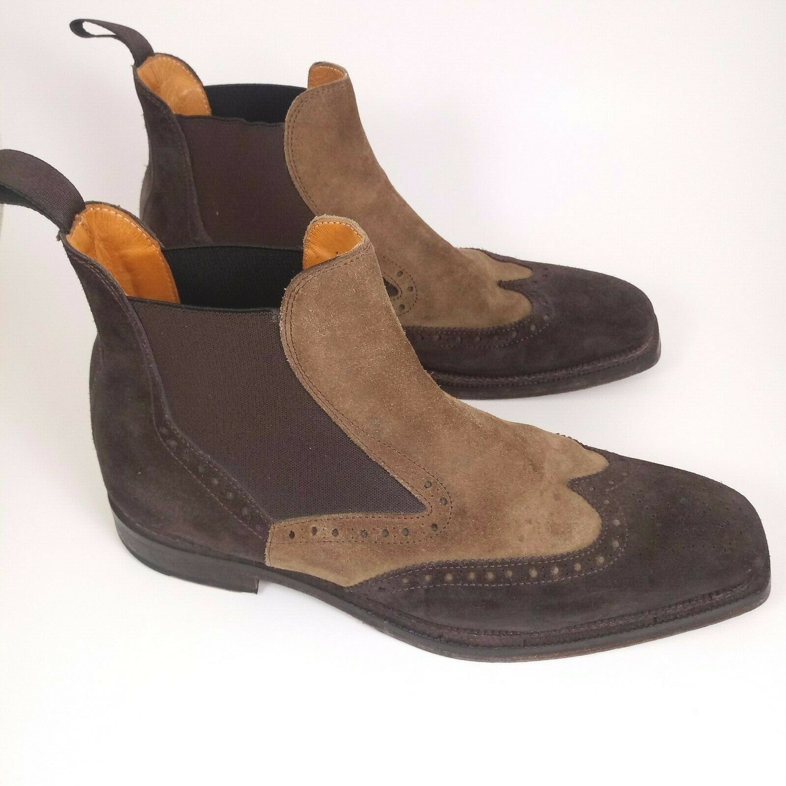Cuoieria Men 43 Wing Tip Chelsea Boots Brown Tan … - image 4