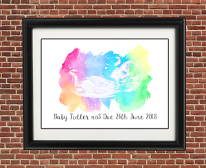rainbow baby scan ultrasound pregnancy announcement cards print a5