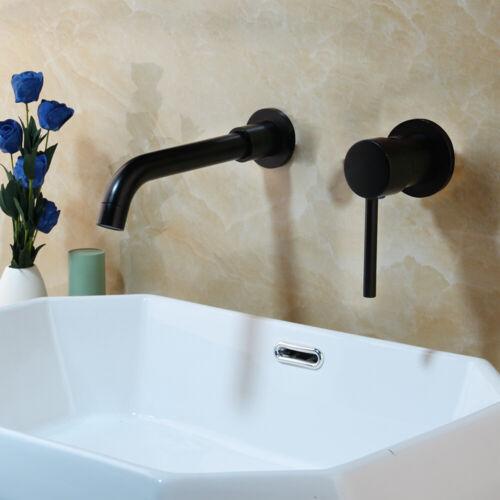 Black Bathroom Faucet Wall Mounted Basin Mixer Tap 2 PCS Set Bath Spout Brass