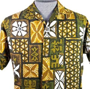 Made-in-Hawaii-Hawaiian-Shirt-Aloha-Friday-Tiki-Tapa-Mens-Size-S-Green-Gold-Brwn