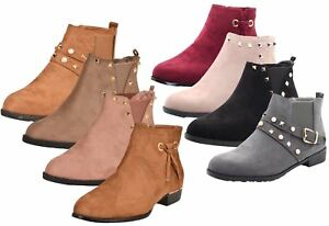 New-Women-Chelsea-Ankle-Boots-Winter-Block-Heel-Ladies-Biker-Style-Boots