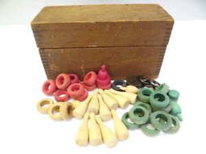Vintage-Used-Old-Wood-Wooden-Finger-Joint-Construction-Ring-Toss-Childrens-Toys