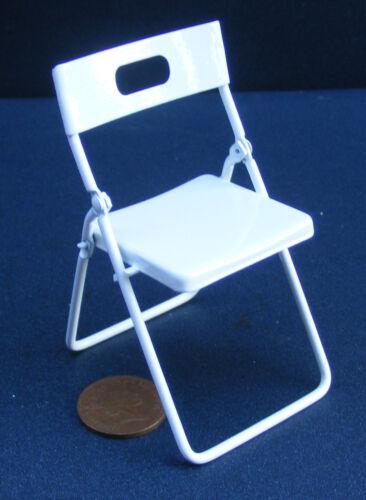 Escala 1:12 Silla Plegable metálica Pintado De Blanco tumdee Casa de Muñecas en Miniatura 230