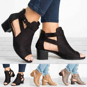 Ladies Women Low Block Heel Peep Toe Sandals Summer Boots Strap Ankle Shoes Size
