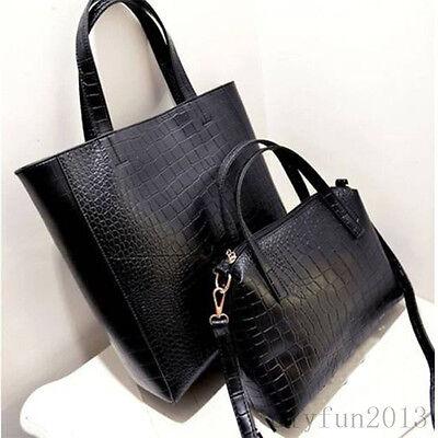 2 Bag Set Fashion Women Ladies Leather Satchel Shoulder Handbag Messenger Bag