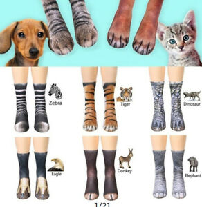 Funny-Unisex-Adult-Kids-Elastic-Sock-Animal-Paw-Feet-Crew-3D-Print-Foot-Socks