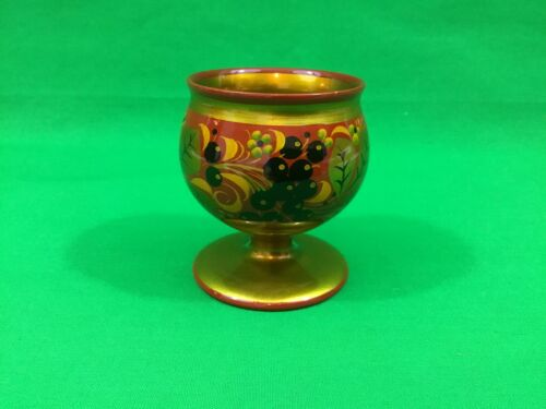 Small wooden glass h 8cm russian khokhloma hand painted food varnish