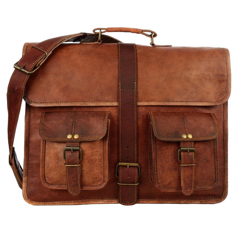 commerce équitable fait à main la main à grand brun ruban style cartable en cuir b80405