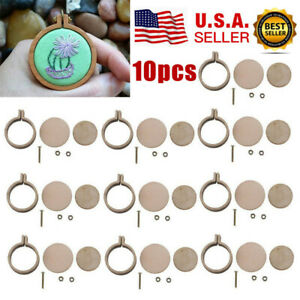 10-Sets-Mini-Embroidery-Hoop-Ring-Craft-Tools-Wooden-Cross-Stitch-DIY-Frame-US