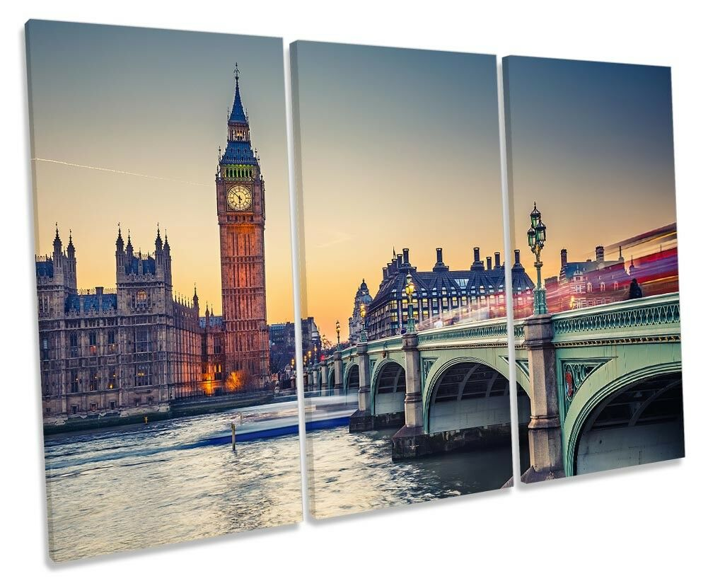 Big Ben London Cityscape Framed TREBLE CANVAS PRINT Wall Art