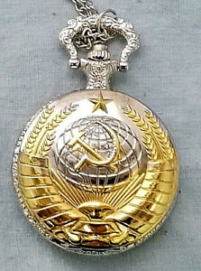 Russian-Gold-amp-Silver-Pocket-Watch-CCCP-Hammer-Sickle-Army-Cold-War-Old-KGB-WW2