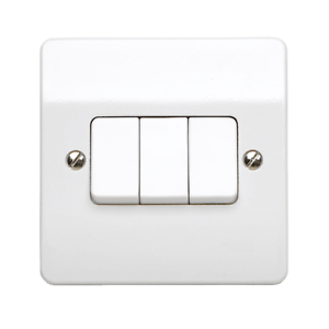 Mk Logic 3 Gang 1 Pole 10 A Flush Mount Triple Rocker 2 Way Interrupteur De Lumière-Blanc