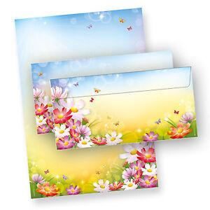 NEU-Motiv-Briefpapier-Set-DIN-A4-FLORENTINA-Motivpapier-Blumen