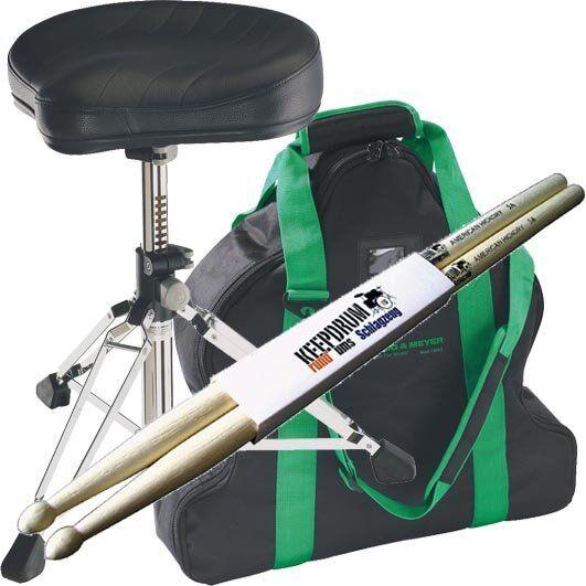K&M 14000 Gomezz Drumhocker + Tragetasche 14003 + Keepdrum 1 Paar Drumsticks