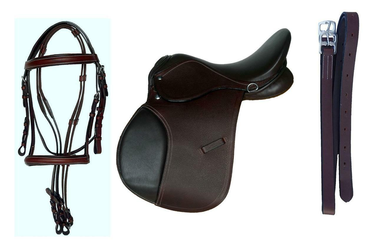 15  English  All purpose Show Trail Mini Pony Saddle Bridle Leathers-48  Rich Brn  welcome to choose
