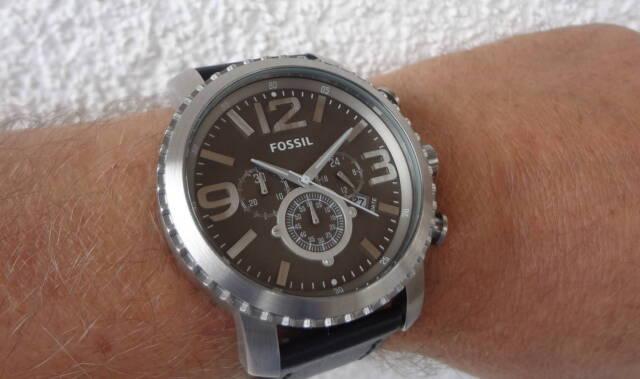 XXL Fossil HAU Chronograph 50 mm #BQ1175 Zifferblatt grau, Lederband schwarz NEU