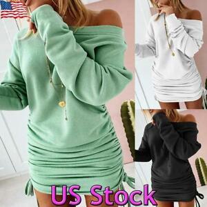 Sexy-Women-039-s-Off-Shoulder-Jumper-Dress-Bodycon-Long-Sleeve-Sweatshirt-Mini-Dress