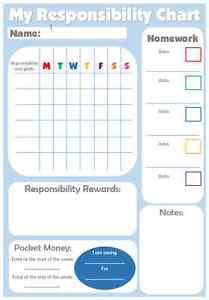 Reward charts for teenage older children responsibility homework