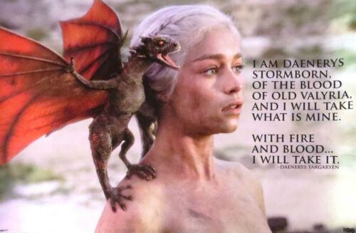 GAME OF THRONES-Fire & Blood-Daenerys Quote-Licensed POSTER-90cmx60cm-Brand New