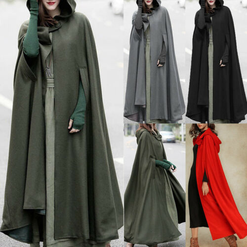 Womens Long Cape Cloak Cardigans Hooded Coat Outwear Medieval Robe Winter Tops