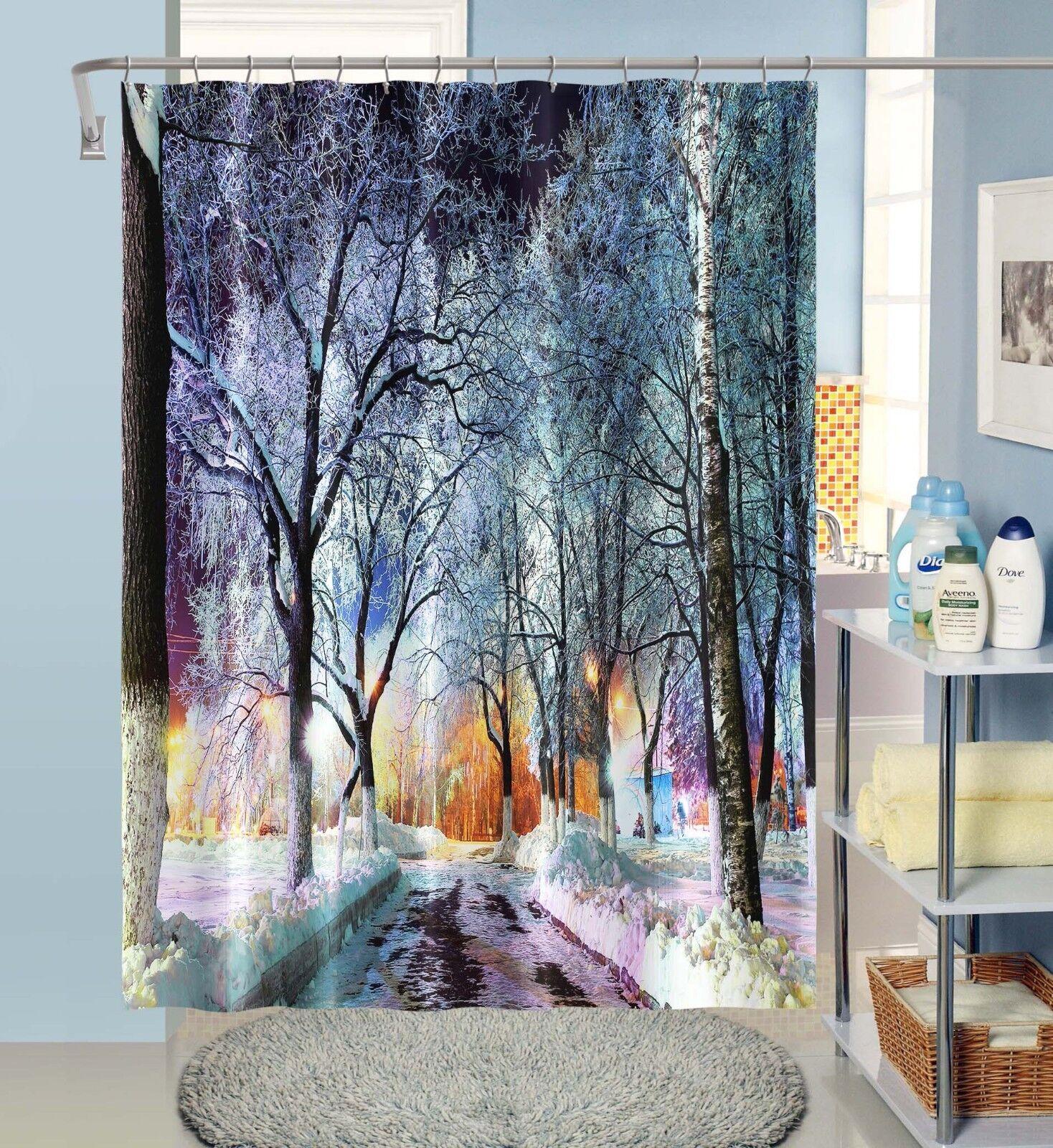 3D Night Snow 12 12 12 Shower Curtain Waterproof Fiber Bathroom Home Windows Toilet b668aa