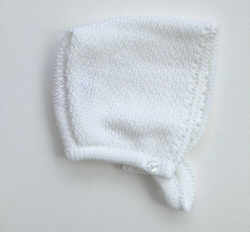 Baby Girls Knitted Bonnet Hat White Pink Spanish Style Christening 0-9 Months