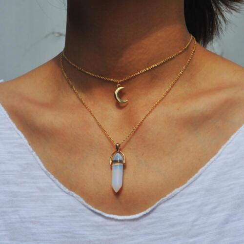 Bohemian Goth Necklace Layer Crystal Quartz Moon Pendant Simulated Gemstone