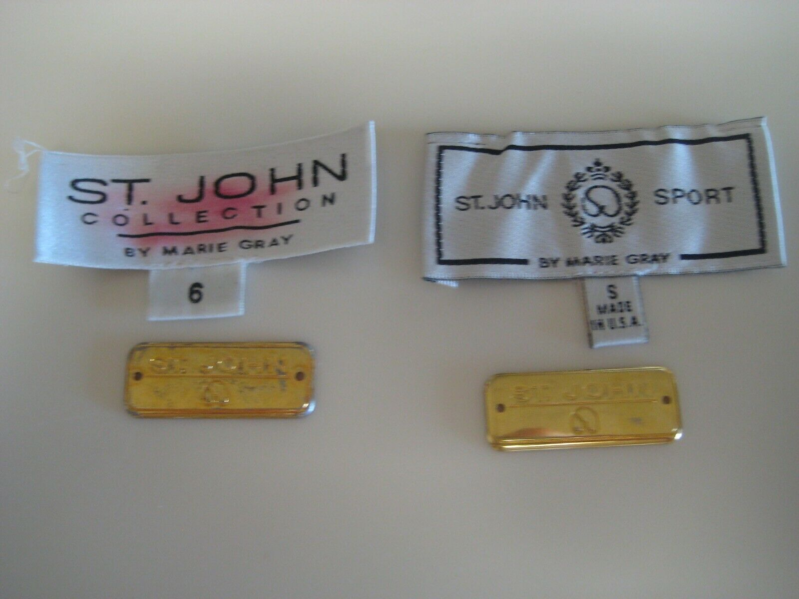 St. John by Marie Gray Signature Labels and Hallmark Logo Plates