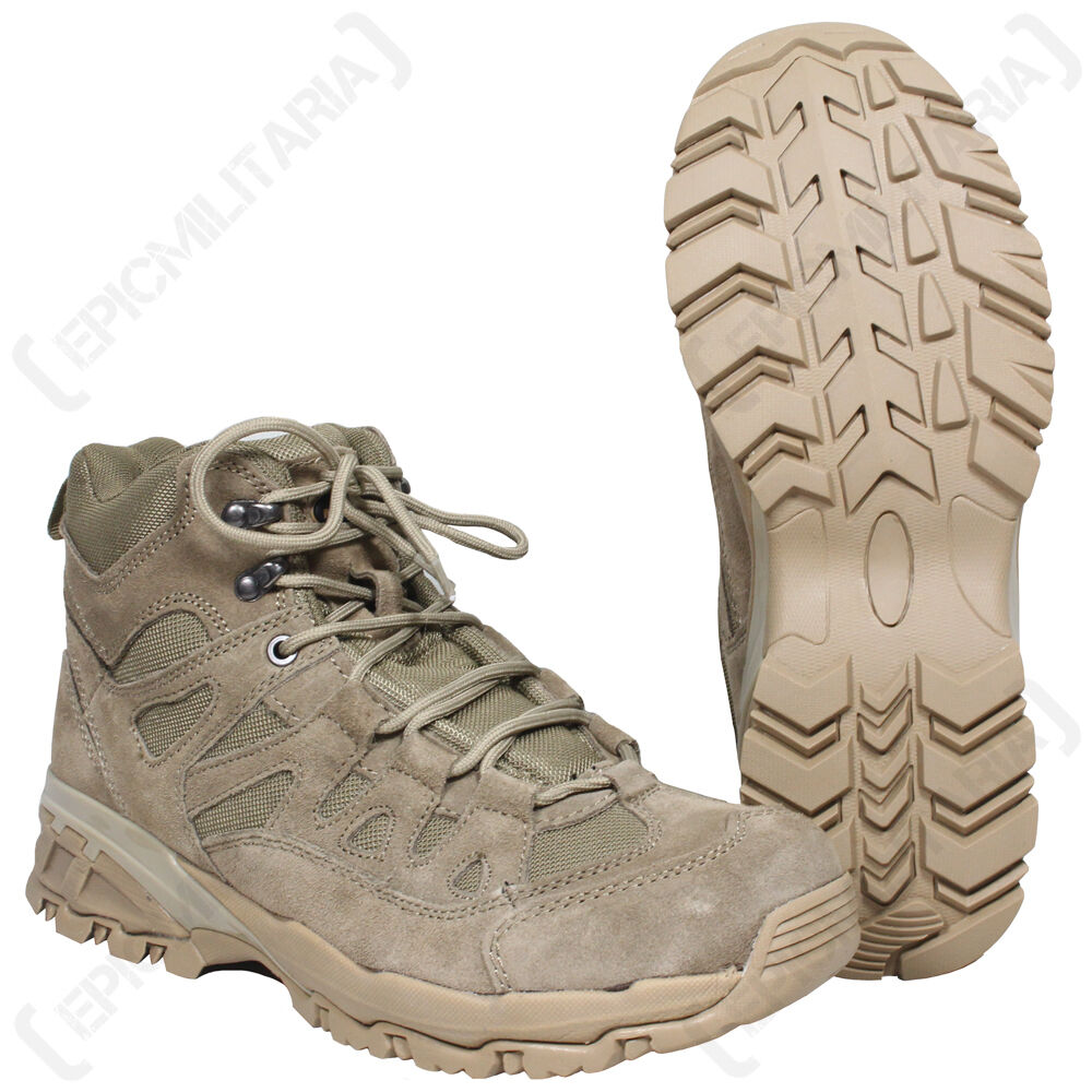 COYOTE Military SQUAD Stivali - All Sizes Army Combat Mid Height Khaki Brown Shoe