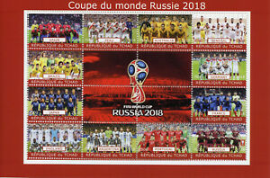 Chad-2018-CTO-World-Cup-Football-Russia-2018-England-Spain-12v-M-S-Soccer-Stamps
