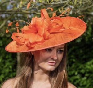 acheter maintenant super pas cher se compare à nouvelle version Détails sur Nigel Rayment Orange Mariage Ascot disque pour mère de la  mariée chapeau- afficher le titre d'origine
