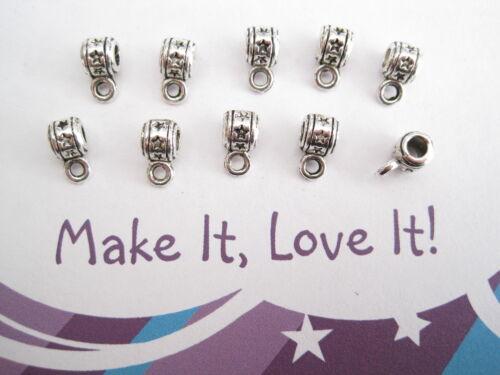 10 x STAR STAMPED BAILS 5mm Hanger Beads Loop TIBETAN SILVER JEWELLERY MAKING