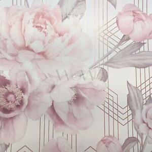 Belgravia-Decor-Stella-Geometrique-Floral-Paillette-Peint-Fard-Rose-Blanc-9750
