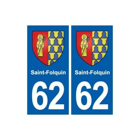 62 Saint-Folquin blason autocollant plaque stickers ville -  Angles : droits