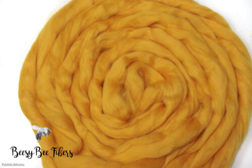for spinning nuno felting combed top 2 oz Merino wool roving GOLD