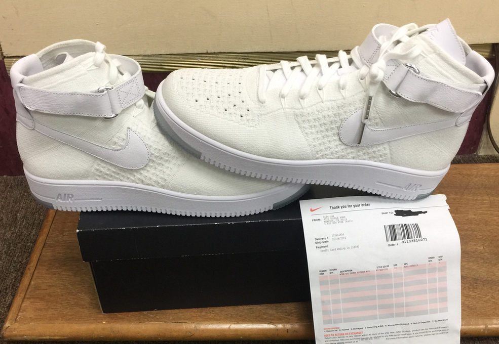 Nike Air Force 1 Ultra Flyknit Mid 817420-100 Authentic