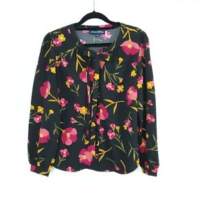 Princess Highway Women's Blouse Button Up Pussy Bow Floral Poppy Print Size 10
