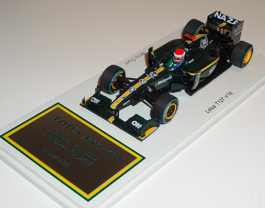 1 43 Spark Lotus T127 voiture  18 2010 Grand Prix d'Europe 500 F1 Grand Prix Jarno Trulli S3010