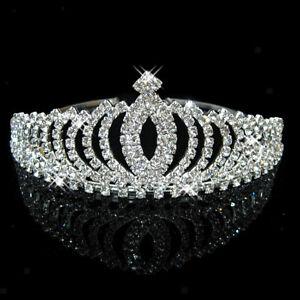 Wedding-Party-Bridal-Princess-Pageant-Crystal-Crown-Headband-Tiara-Silver