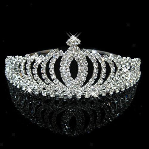 Wedding Party Bridal Princess Pageant Crystal Crown Headband Tiara Silver