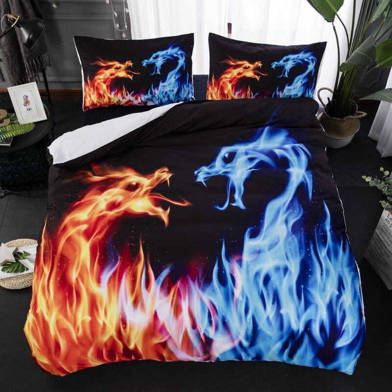 3D Art Fire and Ice Dragon Bedding Duvet Cover Set Quilt Cover Pillow Shams 3PCS