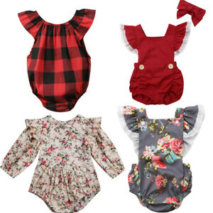 Girl-039-s-Romper-Plaid-Checked-Bow-Floral-Vintage-Summer-Outfit-Cotton-New-baby